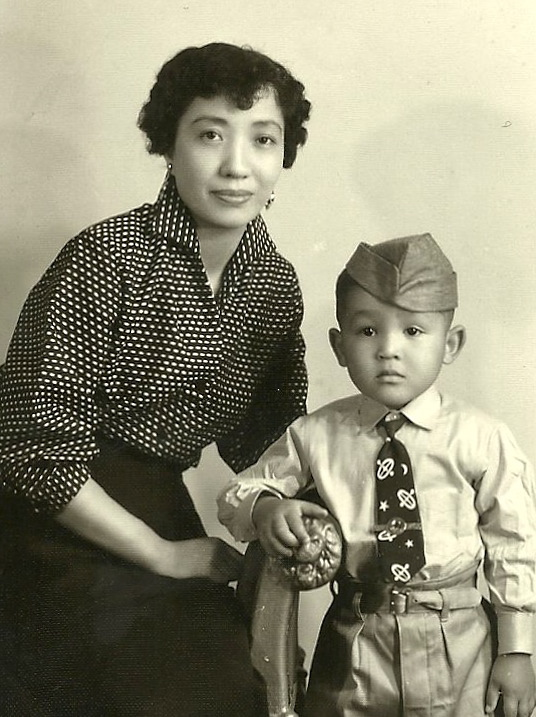 Mama and me in my military regalia to inspire my Dad, in the U.S., to come back and get us in Japan.