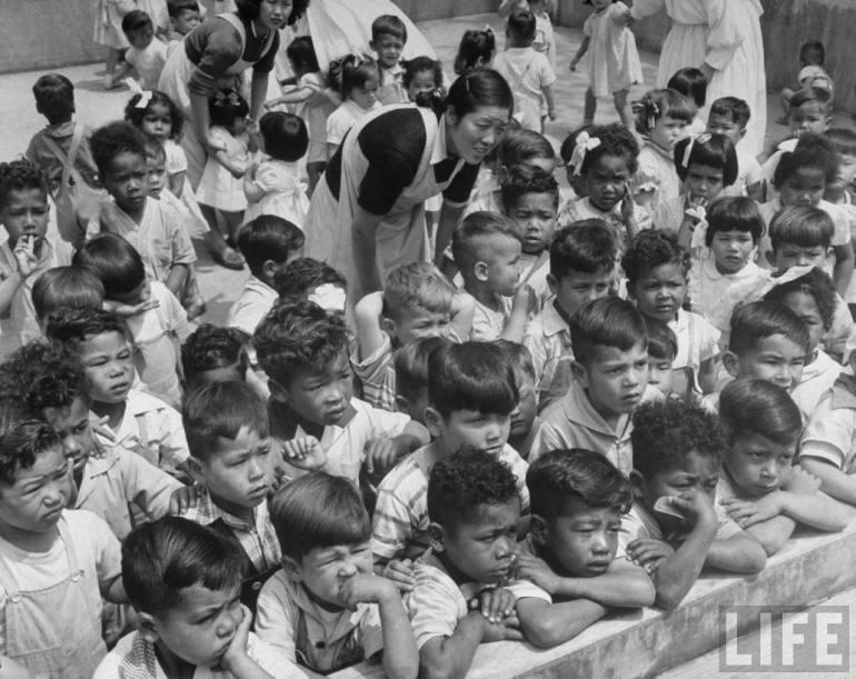 Japanese postwar orphanage for mixed-race Children 1952. Photo by Margaret Bourke White, Life Magazine