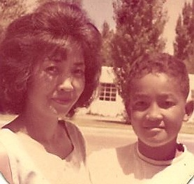Mama and I in front of our house in Albuquerque, 1963.