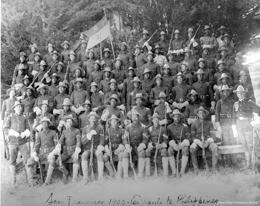 Buffalo Soldiers, the 9th & 10th calvaries made of African-American soldiers, pose in the Presidio of San Francisco, ready to go to battle in the Philippines. circa 1900