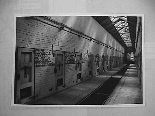 Outside of the cells in the Eighth Army Stockade. Based on the Quaker model where inmates had no contact. From the Correctional Library of the Japanese Correctional Association. From Asia-Pacific Journal article by Svoboda.