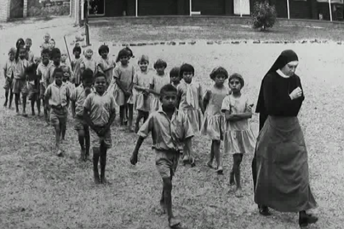 Nun leading march New Norcia Mission - Dumbartung Aboriginal Corporation